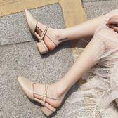 單鞋 女單鞋瑪麗珍鞋中跟復古奶奶鞋粗跟交叉綁帶涼鞋夏高跟一字扣    coco衣巷