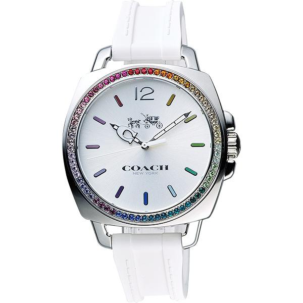 Coach Boyfriend 彩色水晶石英腕錶-銀x白/38mm CO14502528 比漾廣場