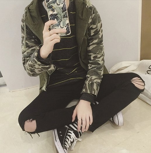【找到自己】韓國 迷彩 中長 外搭 外套 兩色 亞森 星球 迷彩BAPE