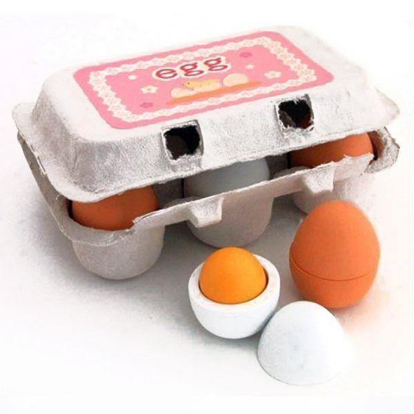 【南紡購物中心】【GCT玩具嚴選】木製仿真雞蛋盒組 療育木製模型玩具