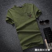 夏季男士加肥加大碼純棉V領胖子肥佬潮牌青少年T恤短袖寬鬆T恤衫  圖拉斯3C百貨