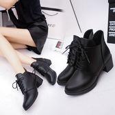 (全館免運)DE shop~(NN-5600)高跟馬丁靴英倫風裸靴女鞋厚底粗跟短筒短靴
