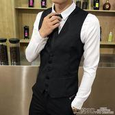 西服背心 新款男裝韓版修身休閒西裝小背心短款純黑色定制酒吧工作服潮 二度3C