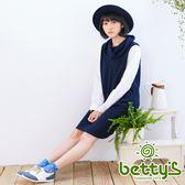 betty's貝蒂思 翻領拼接襯衫袖毛料洋裝(藍色)