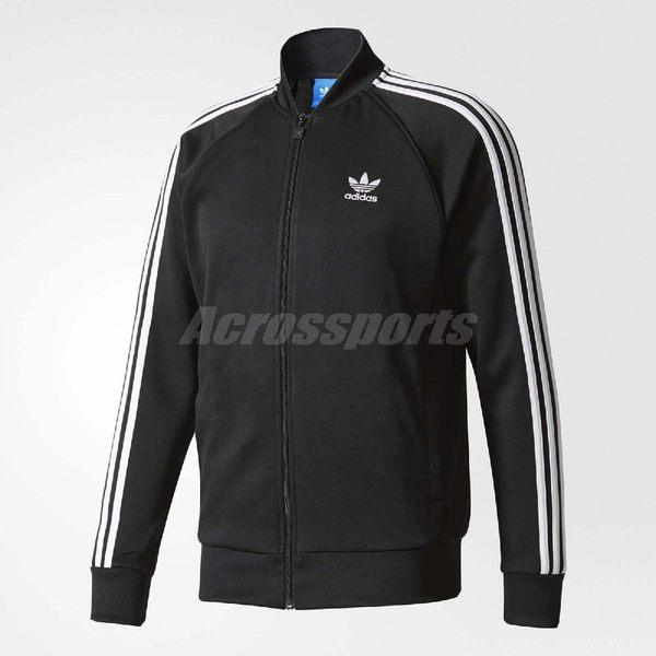 adidas 外套 ORIGINALS SST TT 男款 三條線 三葉草 長袖 上衣 拉鍊 夾克 MA-1 黑白 黑 白 【PUMP306】 BK5921