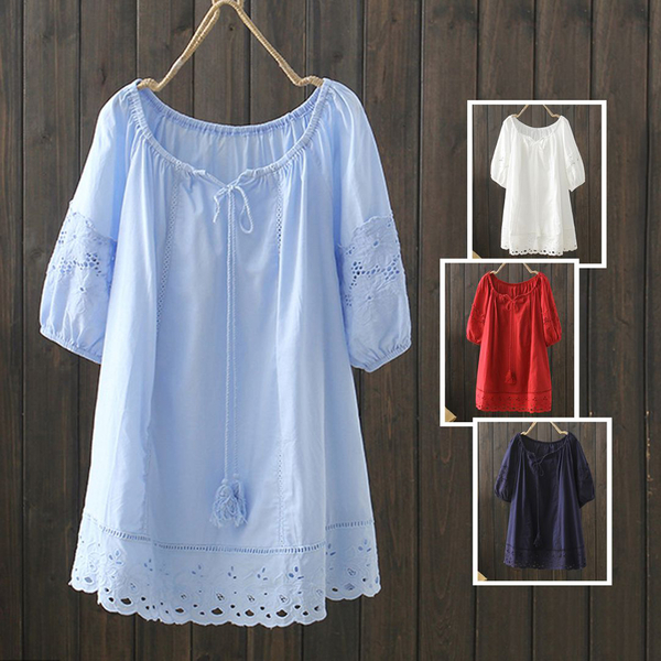 *ORead*日系民族風流蘇鉤花刺繡短袖上衣(4色F碼)