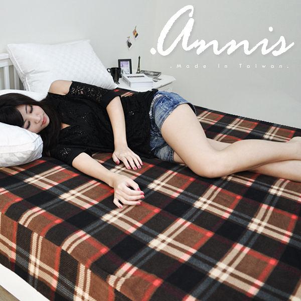 【安妮絲Annis】100%台灣製造(黑咖大格紋)刷絨毛床包─雙人5x6.2尺、溫暖好舒眠/磨毛舒絨床包保暖