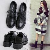 學院風黑色小皮鞋女2019春季新款英倫增高布洛克女鞋學生中跟鞋子 萊俐亞