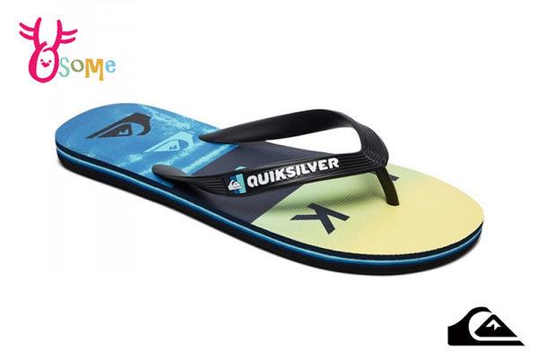 QUIKSILVER MOLOKAI WORDBLOCK VOLLEY 成人男款 拖鞋 海灘 人字拖 夾腳拖 L9405#藍黃◆OSOME奧森鞋業