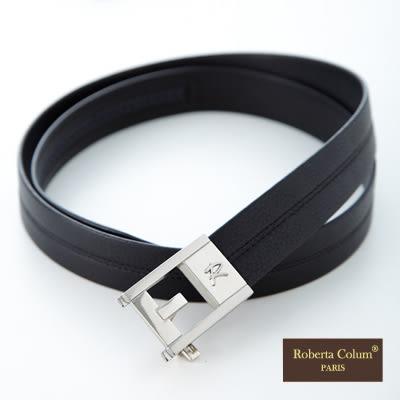 Roberta Colum - 爵士自動金屬滑扣黑牛皮皮帶