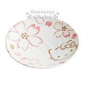 〔小禮堂〕Hello Kitty 日製陶瓷盤子《L.白.大臉.櫻花滿版.16cm》4973307-31324
