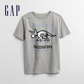 Gap男童 趣味互動圓領T恤 855014-灰色