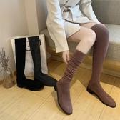 膝上靴 過膝長靴女春秋單靴新款彈力針織毛線襪子靴長筒靴高筒靴子女 降價兩天
