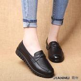 中老年女皮鞋奶奶鞋防滑中年平跟平底