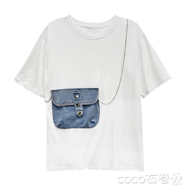 T恤網紅t恤女裝潮ins超火短袖2020夏季新款港風假兩件拼接中長款上衣  COCO