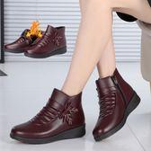 女鞋子冬季媽媽棉鞋保暖加絨雪地靴婦女平底中老年人短靴新款    易家樂