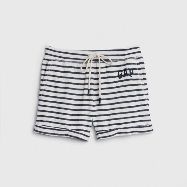 Gap 女裝 Logo清爽條紋休閒短褲 582263-海軍藍條紋