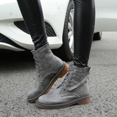 短靴女 馬丁靴 秋冬新款女鞋女英倫系帶短筒女靴粗跟平底女靴子韓版女鞋子《小師妹》sm3306