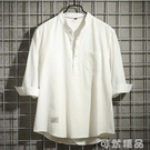 夏季短袖白襯衫男士薄款韓版潮流休閒亞麻中袖五分半袖七分袖襯衣 可然精品