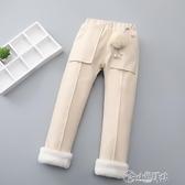 毛呢褲 女童棉褲加絨加厚外穿兒童冬褲寬鬆毛呢褲一條過冬季寶寶夾棉褲子
