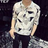 五分袖襯衫男休閒帥氣短袖襯衣韓版潮流夏季個性印花bf風中袖寸衫