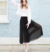半身褲裙大擺褲裙中長款L-4XL歐美雪紡半身裙中長款純色大擺裙2F029.8503皇潮天下