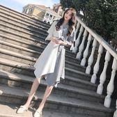 黑五好物節★冷淡風連身裙女夏裝新款女裝潮韓版顯瘦中長裙不規則拼接裙