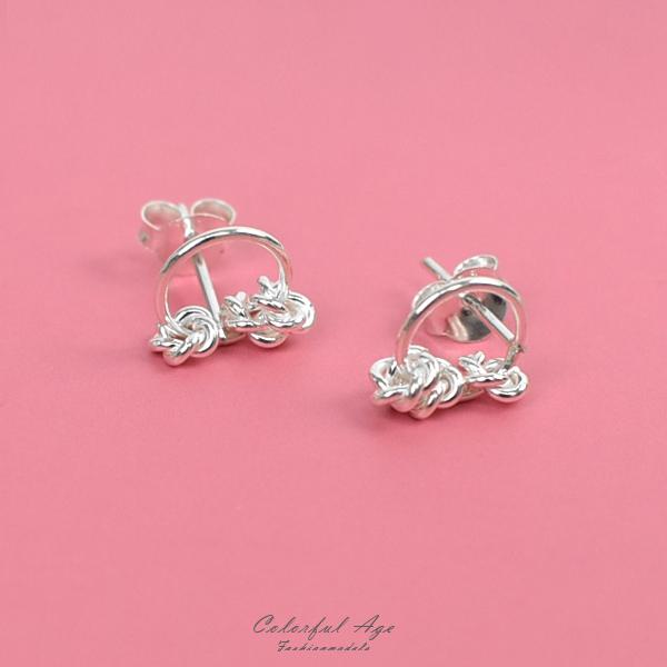 純銀耳環 甜心小花圈耳針銀飾NPD220
