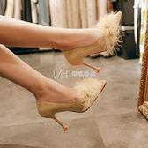 高跟鞋  小清新高跟鞋百搭韓版細跟少女尖頭淺口貓跟單鞋  瑪奇哈朵
