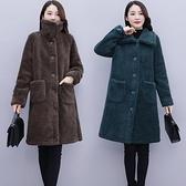 大尺碼斗篷 大碼羊羔毛外套 女冬季女裝新款寬鬆顯瘦皮毛一體羊羔絨 厚款大衣潮