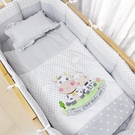 西川 GMP BABY 牛寶貝圓床被組-灰色【新品】/四件被組.嬰兒床棉被組.純棉四件式寢具組