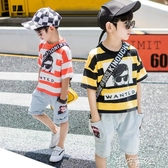 男童夏裝套裝純棉T恤童裝正韓印花短袖兒童兩件套 新年禮物