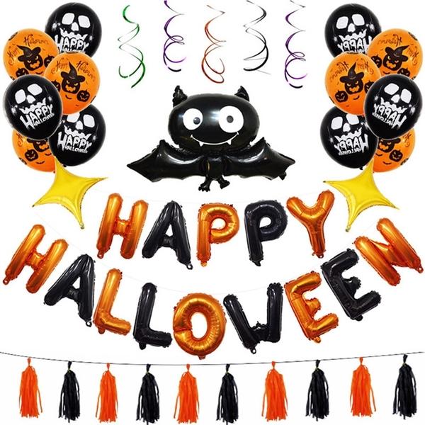 萬聖節蝙蝠裝飾派對流蘇氣球組 鋁膜氣球 場地布置裝飾 活動派對 活動 派對 橘魔法 現貨 PARTY