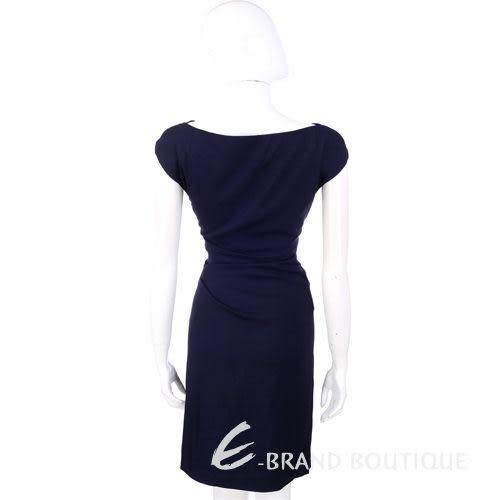 PHILOSOPHY 深藍色斜領小包袖洋裝 1210341-34