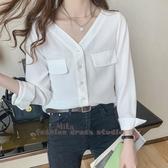 依Baby 白色雪紡襯衫V領設計感小眾輕熟寬鬆韓風長袖襯衫