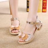 兒童鞋蝴蝶結公主軟底防滑涼鞋