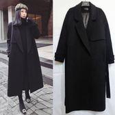 呢子大衣黑色系帶女2018冬裝新款韓版加厚中長款過膝顯瘦毛呢外套 Ic2839『MG大尺碼』