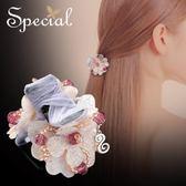 髮飾 special 歐美優雅花朵發飾 發夾抓夾粉色頭飾遇見你的時光 歐雷爾藝術館