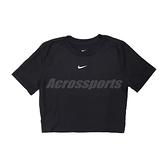 Nike 短袖T恤 NSW Essential Crop-Top 黑 白 女款 短版設計 刺繡小勾 運動休閒 【ACS】 DD1329-010