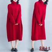 長袖洋裝 大碼遮肚連身裙顯瘦秋冬減齡氣質高領寬鬆針織打底長裙子 XN4815【花貓女王】
