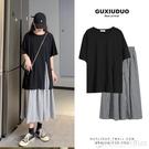 大碼女裝 新款夏季兩件套裝 洋氣個性連衣裙連身裙子 黑色T恤 格子裙子 圖拉斯3C百貨