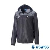K-SWISS Caontrst Top Panel Windbreaker刷毛風衣外套-男-黑