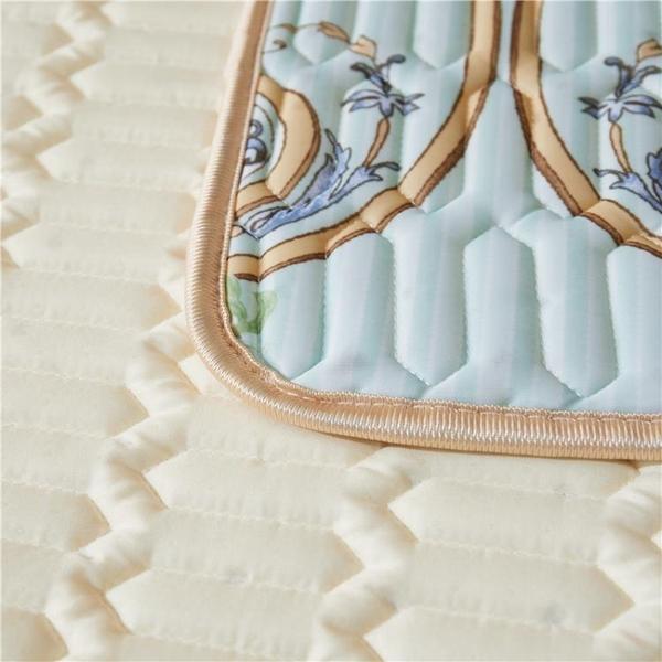 夏季冰絲乳膠涼席三件套1.51.8m床冰絲莫代爾空調席子可折疊涼感絲冰絲乳膠涼席 【母親節禮物】