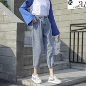 牛仔褲女春秋正韓顯瘦寬鬆老爹款櫻田川島直筒褲子【免運】