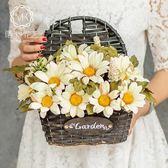 假花客廳裝飾墻壁掛花籃仿真花插花墻掛假花花束套裝擺件絹花花藝  enjoy精品