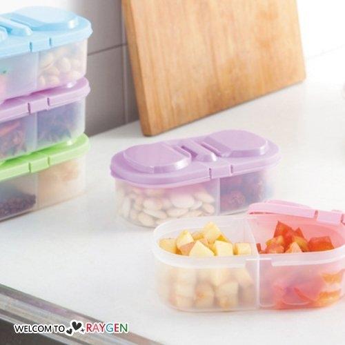 雙格翻蓋儲物盒 水果零食冰箱保鮮盒