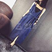 牛仔裙 牛仔洋裝長款背帶V領露背寬鬆新薄款大碼歐美吊帶長裙 俏女孩