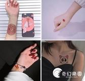 【一套34張】紋身貼防水女持久小清新可愛性感櫻花情侶腳踝仿真-奇幻樂園