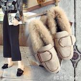 毛毛鞋女秋冬季新款加絨保暖懶人豆豆鞋韓版百搭方頭平底單鞋  潔思米