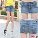 Bbay 牛仔裙 做舊牛仔超短裙 包臀短裙 有內襯(XS-XL)